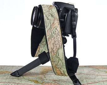 dSLR Camera Strap, Vintage Style Map, Camera Neck Strap, Canon camera strap, Nikon camera strap, Men's, Women's,  256