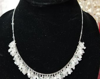 White cats eye glass and crystal cluster necklace