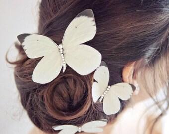 Silk Wedding Butterfly Hair Clips - Hand cut - Silk - Swarovski - Crystals - Set of three.