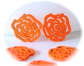 Orange 5 connectors prints recessed flower filigree wood shape