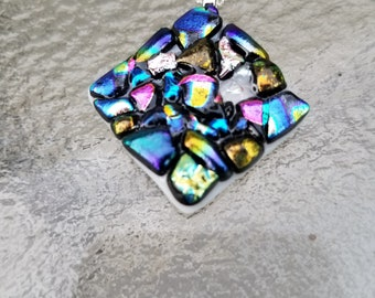 Various dichroic glass pendant with silver chain