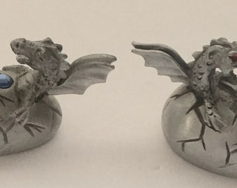 3 Dragon Hatchling Pewter Figurines
