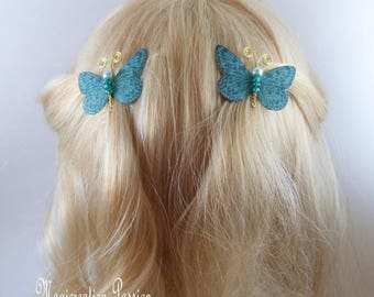 Butterfly clips anti-slip turquoise body beads and gold metal antennas, Ombre, spring - Apolline - made in France