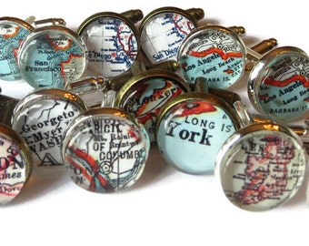 Men Cufflinks, Custom Map Cuff Links, Father's Day Gift, Personalized Cufflink for men, Anniversary Gifts for Men or Fathers, Groomsmen Gift