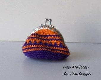 Handmade crochet coin purse, wallet, orange and purple
