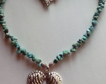 Turquoise angel wing necklace