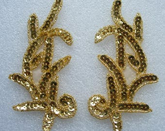 LR01 Left & Right Sequin Bead Applique Gold Sewing on Fashion/Dancewear/Gown