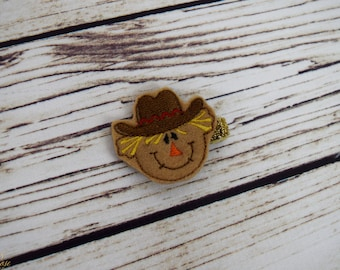 Handcrafted Scarecrow Feltie Clip - Small Fall Hair Bow - Scarecrow Costume Accessory - Little Girl Bows - Fall Accessory - Infant Hair CLip