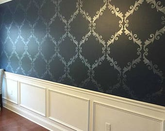 Large Trellis Pattern Wall Stencil - Decorate a DIY Wall Mural Design with Classic Damask Wallpaper Look