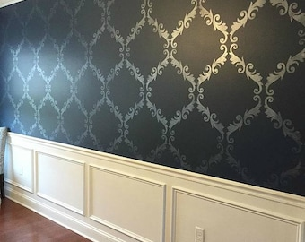 Large Trellis Pattern Wall Stencil   Decorate A DIY Wall Mural Design With  Classic Damask Wallpaper Look