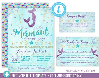 Mermaid Baby Shower Invitation, Girl Mermaid Purple Blue Gold Baby Shower,  Under The Sea