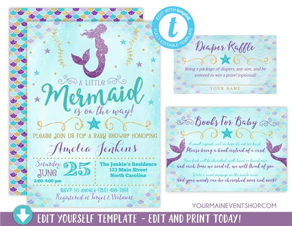 Mermaid Baby Shower Invitation, Girl Mermaid Purple Blue Gold Baby Shower, Under The Sea Baby Sprinkle, Diaper Raffle Book Request