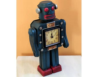 Vintage Retro 1950's, 1960's like Tin Toy Space Robot, rocket, ray gun, Spaceman, Space Man, Toy Collection, Astronaut, Sci-Fi NASA Clock