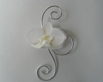 Boutonniere - PIN for wedding - silver and white with Orchid