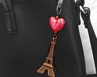 Paris France Key chain,Eiffel Tower gift,Traveler's gift,Exchange Student,Travelers,Travel,France,purse charm,accessories,bag