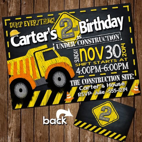 Construction birthday invitation Construction birthday party