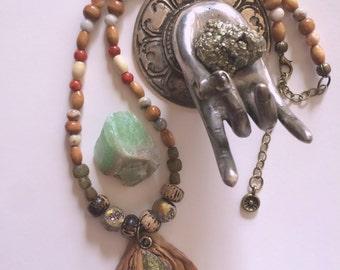 clay  NECKLACE, zen necklace, mixed media necklace, raw pyrite pendant,earthy necklace,hippy necklace, namaste necklace neutral  Zasra