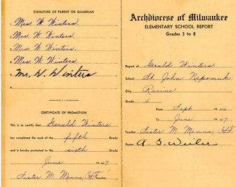 1946-1950 Report Cards From St. John Nepomuk School, Archdiocese Of Milwaukee