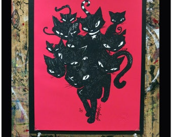 Here Kitty Kitty Kitty Kitty, Edition of 13 Emily The Strange Art by Buzz Parker Black Cats Kitty Cat Monster Night 11x14