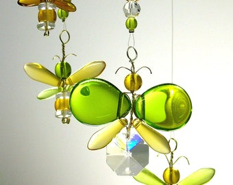 Green and Gold Australia Day Gift Yellow Butterfly Mobile Children Hanging Mobile Window Charm Hanging Crystal Baby Moblie Nursery Decor