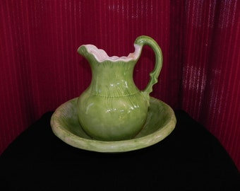 Retro Green Pitcher & Washer Bowl Set