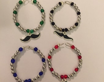 Mustache Wine Charms