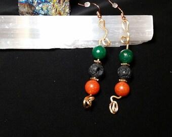 Copper wire beaded earrings