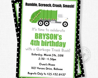 Truck Birthday Invitation, Garbage Truck Invitation, Garbage Party Invite, Recycle Party Invite, Boy Birthday Invitation