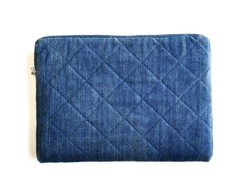 "Quilted Denim Laptop Sleeve - 15"" MacBook - Handmade from Salvaged Jeans"