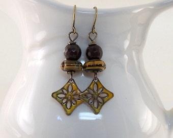 Handmade Rustic Yellow Flower Earrings, Enameled Earrings, Brass Earrings, Small Earrings, Brown and Gold,  Boho Earrings, Artisan, AE194