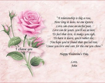 Pink Rose - Happy Valentine's Day to The One I Chose Quote