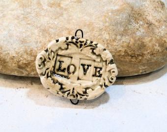 LOVE, handmade ceramic supply, beige connector pendant, barocco, shabby chic, romantic, component, spring