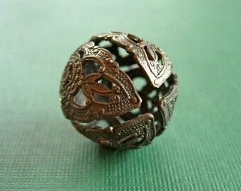 vintaj brass round filigree bead or 45mm filigree setting, 20mm, one piece