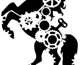 "11.7/16.5"" steampunk cogs horse stencil. A3"
