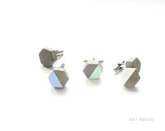 Boutons de manchette hexagones en béton, bijou graphique nid d'abeille, géométrique, pastel mint blanc bleu, cadeau témoin mariage homme