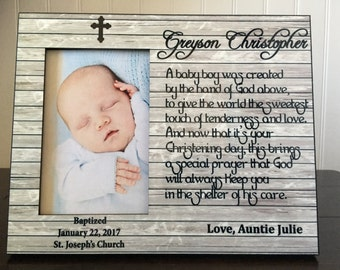Personalized baptism Godson picture frame // gift for Godson //  Christening gifts  //religious gift from Godparents to godson / 4x6 picture