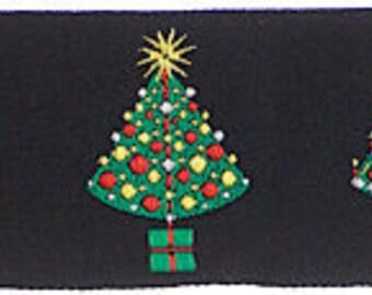 "CHRISTMAS TREES on Black Jacquard Ribbon - 1.5"""
