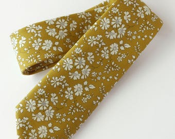 Liberty print tie - mustard yellow floral tie - yellow wedding tie - yellow tie - Liberty tie - Liberty Capel