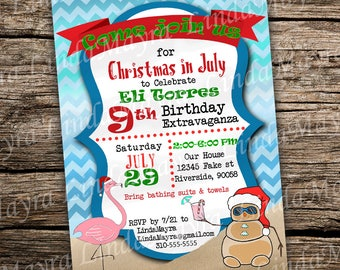 Christmas in Summer Birthday party Invitation digital download