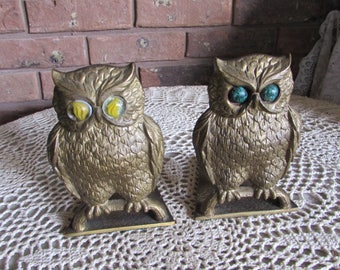 Vintage Brass Owl Bookends Hand Made in Israel.