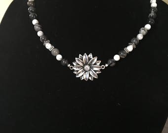 Pendant Necklace, Flower With Natural Stones, Black,White,Grey Beaded Jewelry