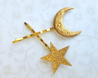 Gold Floral Crescent Moon and Star Hair Pins-Set of 2, Floral Pattern, Solar Eclipse, Holiday Party Hair, Bobby Pins, Celestial Hair, space