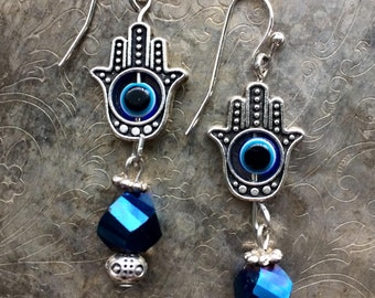 All Seeing Humsa Hands Earrings in Blue