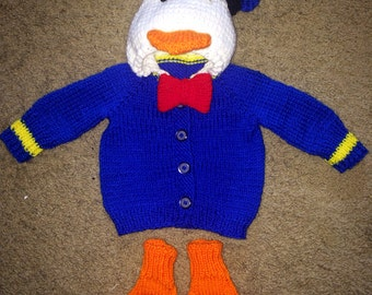 Hand knit Donald Duck baby sweater with duck feet made to order 0-12 months