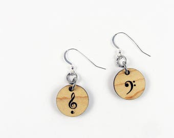 Treble Clef and Bass Clef Earrings in Lightweight Natural Wood - Music Lover Earrings
