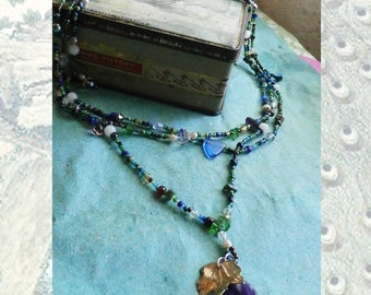 Necklace Multi layered Seed Beads and Glass Vintage Beads and Semi Precious Stones