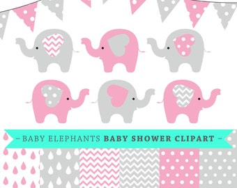 Premium baby shower vector clipart - Baby elephants - pink and grey baby shower - clip art and digital paper set - baby elephant clipart