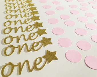 One circle confetti, First Birthday decoration, One with Hearts or Stars, 1st birthday party, Baby Party Decor, First Anniversary, 60 units
