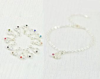 Heart Bracelet, Silver Dainty Bracelet, Silver Chain Heart Crystal Bracelet, Minimalist Dainty Charm Heart Bracelet Jewellery