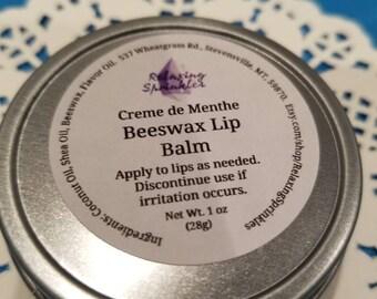 Beeswax Lip Balm- Creme de Menthe- 1 oz tin